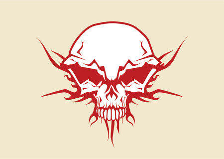 fire skull: Vector illustration of human skull with tribal fire ornaments Illustration
