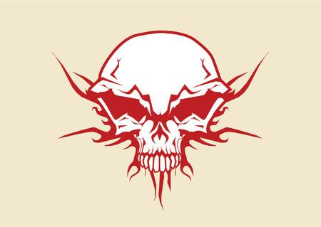 doom: Vector illustration of human skull with tribal fire ornaments Illustration