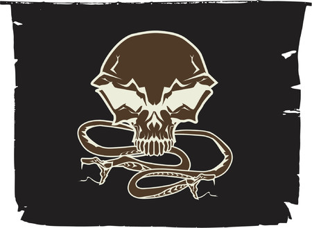 viper: Black chevron with stylized human skull and snakes. Vector illustration.
