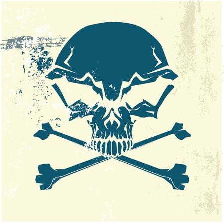rock logo: Estilizada cr�neo y los huesos humanos s�mbolo. Grunge antecedentes. Puede ser utilizado como se�al de alerta o peligro. Ilustraci�n vectorial.