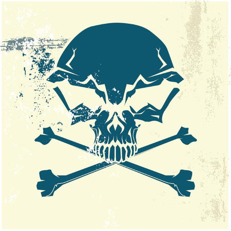 Stylized human skull and bones symbol. Grunge background. Can be used as danger or warning sign. Vector illustration. Stock Vector - 727617