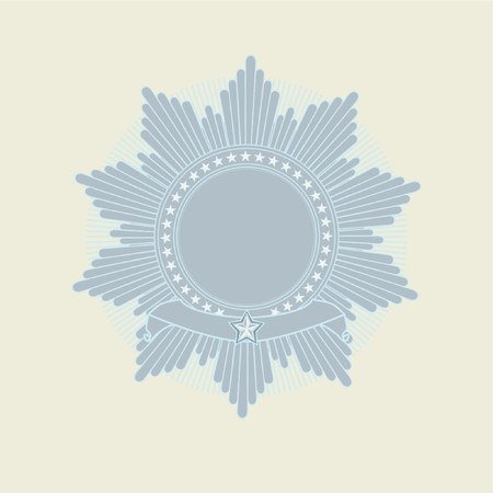 own: Insignia -  star shaped  with banner  .  Blank so you can add your own images. Vector illustration.