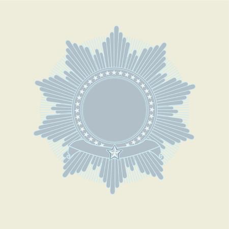 tu puedes: Insignias - la estrella form� con la bandera. El espacio en blanco as� que usted pueden agregar sus propias im�genes. Ilustraci�n del vector.