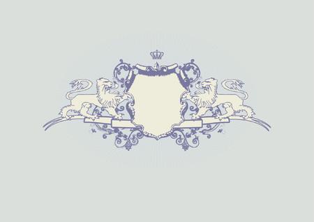 Een heraldische schild of badge met leeuw, blanco, zodat u kunt uw eigen afbeeldingen. Vector illustration