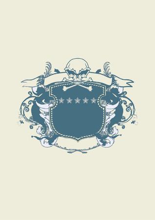 braqueur: Un bouclier ou un badge h�raldique stylis�e avec cr�ne humain et des serpents, des vierges afin que vous puissiez y ajouter vos propres images. Illustration vectorielle