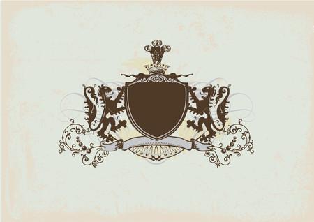 Een heraldic schild of een kenteken met leeuw, spatie zodat u kunt uw eigen beelden. Vectorillustratie