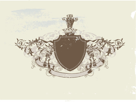so: An heraldic shield or badge, blank so you can add your own images . Vector illustration.