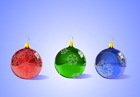 Christmas Tree Ornaments - each item is separate and scalable - ready for Christmas, winter, or seasonal promotions. photo