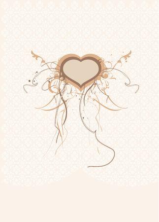 scroll work: An intricate piece of ornate, organic scroll work set around a heart form.