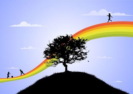 rainbow sky: happy children playing on the rainbow