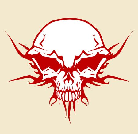 death metal: illustration of human skull with tribal fire ornaments