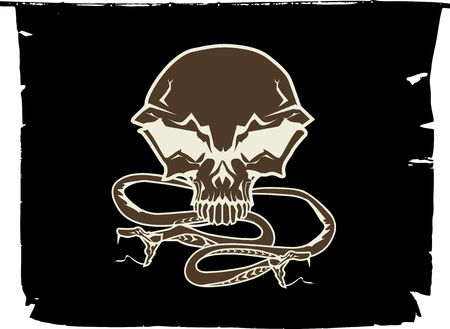 Black chevron with stylized human skull and snakes. photo