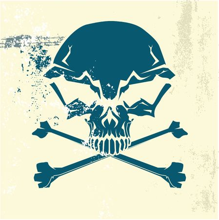 poisonous substances: Stylized human skull and bones symbol. Grunge background. Can be used as danger or warning sign