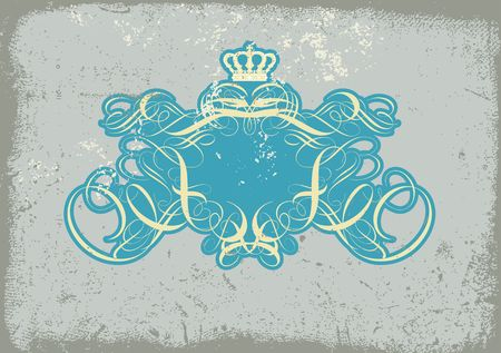 titling: An heraldic titling frame, blank so you can add your own images. Grunge background .  Stock Photo