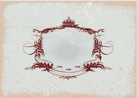tu puedes: Un marco o una divisa que titula heraldic, en blanco usted puede agregar tan sus propias im�genes. Fondo de Grunge Foto de archivo