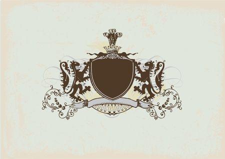 Een heraldische schild of badge met leeuw, blanco, zodat u kunt uw eigen afbeeldingen. Stockfoto