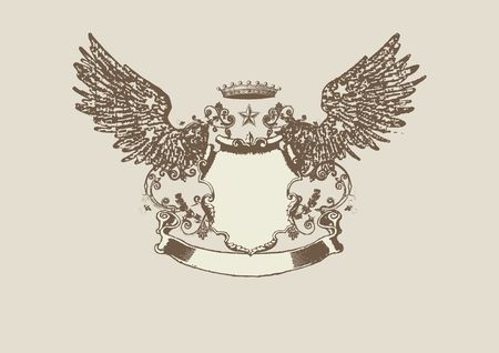 crown wings: An heraldic shield or badge, blank so you can add your own images
