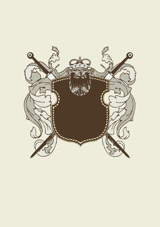 blazonry: An heraldic shield or badge, blank so you can add your own images. Stock Photo