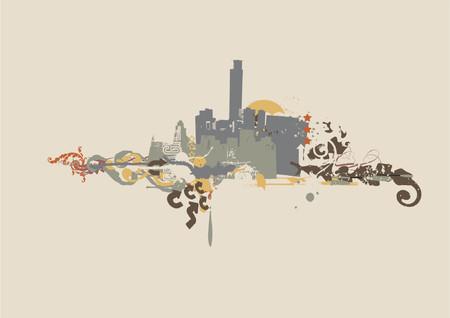 urban background. Grunge style. Vector illustration. Stock Vector - 854339