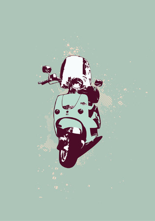 exhilaration: Retro style of scooter bike. Grunge style. Vector illustration.