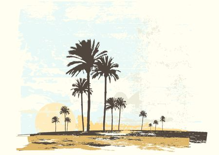illustration of  sunrise on the ocean coast. Grunge style illustration
