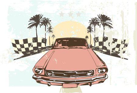 illustration - High speed racing car on grunge background illustration