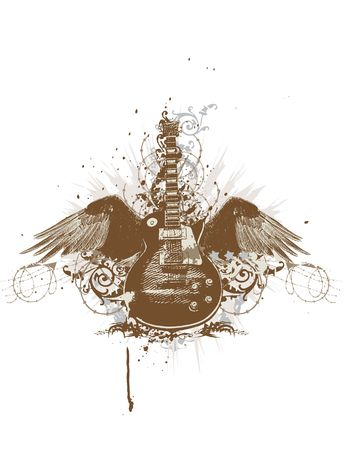 funky music: Flying  guitar with wings and grunge background