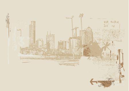 Big City  -  Grunge styled urban background. Stock Photo - 923123