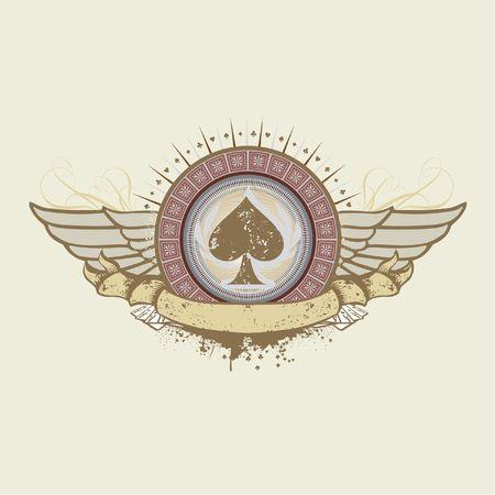 subject: illustration on a gambling subject. spades suit emblem
