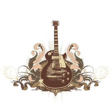 melodic: Guitar on the  grunge background.
