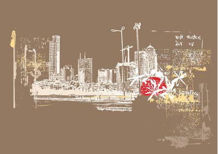 megalopolis: Big City  -  Grunge styled urban background.