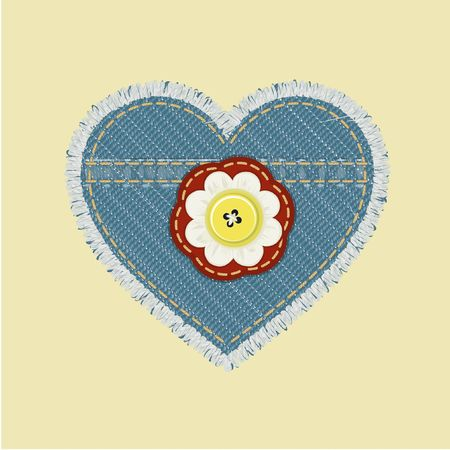 shaped jeans emblem with flower and button. photo