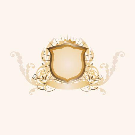 tu puedes: Una insignia o escudo her�ldico, en blanco as� que usted puede agregar sus propias im�genes.  Foto de archivo