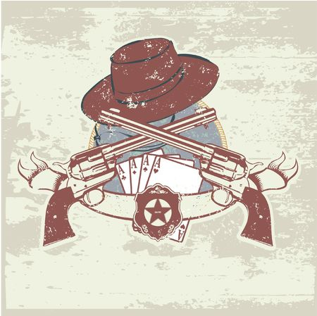 desperado: insignia and banner with  two guns and  hat.