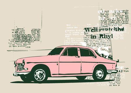 Illustration of old vintage custom collectors car illustration