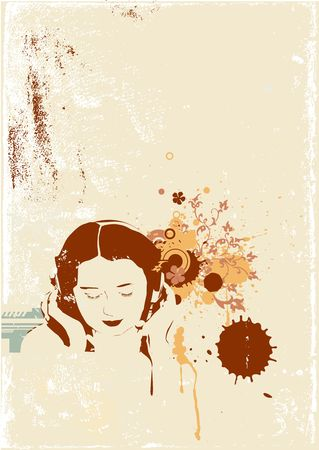 A stylized illustration of a Girl listening to music on headphones. illustration