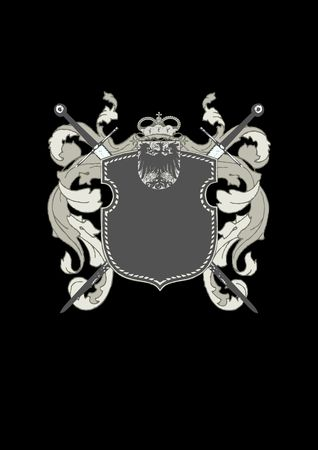 so: An heraldic shield or badge, blank so you can add your own images.