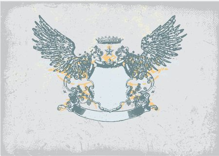 An heraldic shield or badge, blank so you can add your own images. Grunge background  .  photo