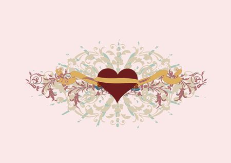 Single ornate heart with a banner to add your text  photo