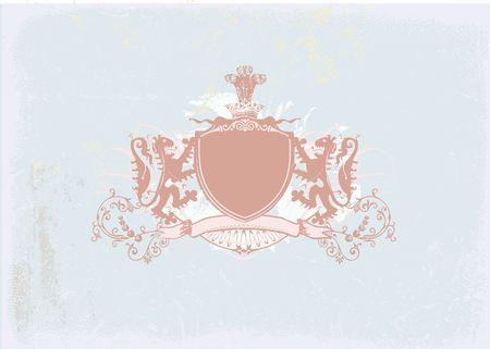 Een heraldische schild of badge, blanco, zodat u kunt uw eigen afbeeldingen. Grunge achtergrond