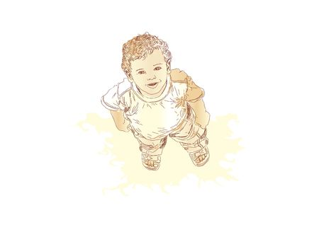underage: Little boy looking up and smiling. illustration
