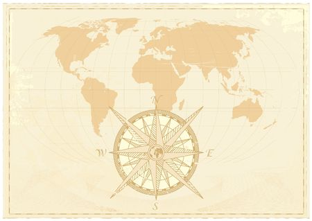 Vintage word map grunge background with retro compass. Vector illustration. illustration