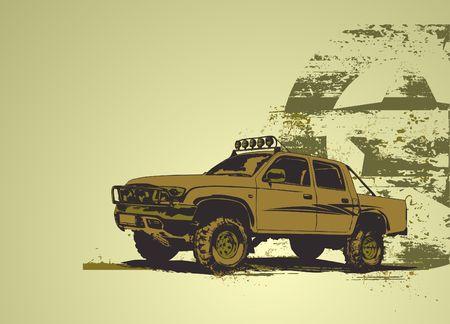 wheel guard: illustration of stilyzed  military vehicle on the grunge urban background Stock Photo