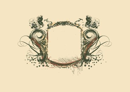 Decorative   frame   with heraldic ornament and sculptural elements on grunge background.  illustration Stock Illustration - 1788143