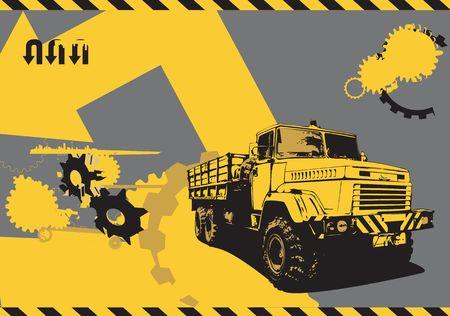 vector  illustration of vintage  truck in a  grunge style on urban background illustration