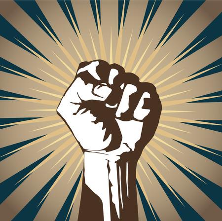 revolucionario: A clenched pu�o en alto en se�al de protesta.