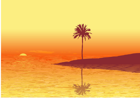 gold coast: Red sunset on a tropic beach .  Vector illustration.