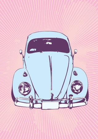 vector   illustration of old  custom Volkswagen Beetle Stock Vector - 1830618