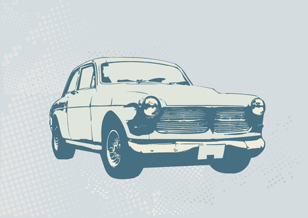 Vector Illustration starych zabytkowych niestandardowe zbierający samochód