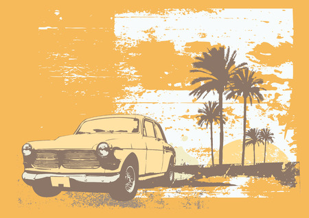 vector illustration of vintage car on the beach with palms and sunset Vector
